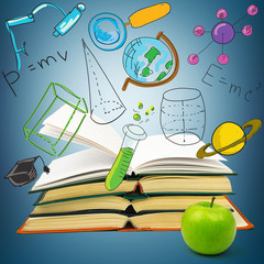 Books with green apple