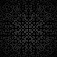 Ornamental black background with vintage curly pattern