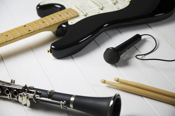 instruments for a blues band / portrait of  instruments for a blues - jazz band