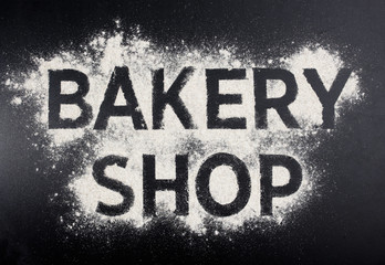 Bakery shop word made of flour. Baking store logo.