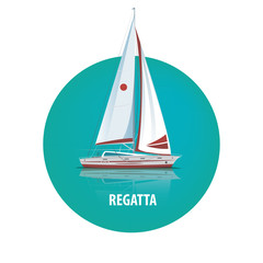 Isolated image of a sailing yacht with reflection in the water in a round white frame. Side view. Signature Regatta