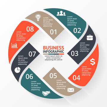 Vector circle arrows X infographic, diagram, graph, presentation, chart. Business cycle concept with 8 options, parts, steps, processes. Info graphic error data, mistake template.