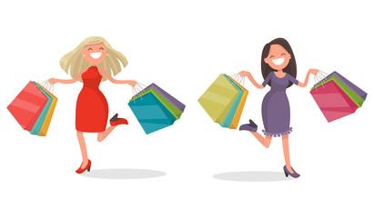 Joyful woman with shopping. Vector illustration