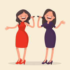 Two girls singing. Karaoke. Vector illustration