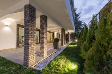Open terrace with pillars