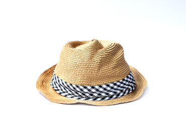 Closeup of hat made of rattan isolated on white background.