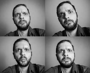 collection of funny bearded man taking selfie shot