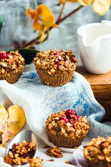 vegan oat muffins with cherries and granola, healthy dessert