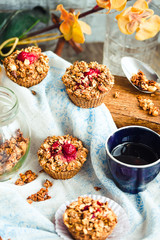 oat muffins with cherries and granola, healthy dessert
