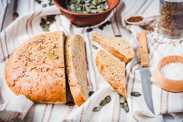 yeast free rye bread with flax seed and pumpkin slices, organic