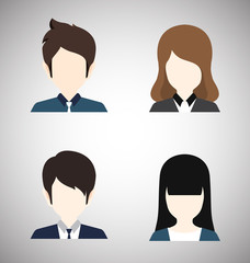 Male and Female Icons-Businessman and Businesswoman Avatar Profile Picture.Flat style vector illustration.