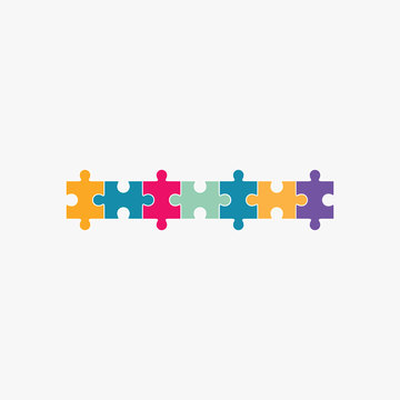 Jigsaw puzzle blank template seven elements