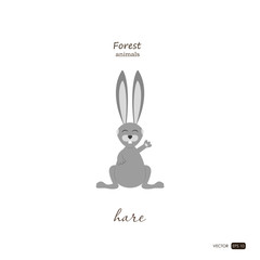 Hare in cartoon style on white background. Forest animals. Vecto
