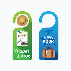 Paper door handle lock hangers concept travel room banner vector