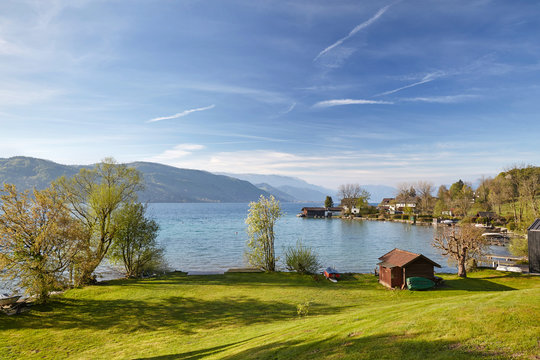 Lake Attersee in the morning in springtime