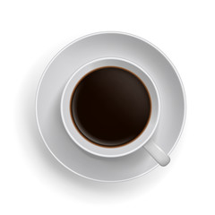 Cup of black coffee. Realistic topview vector