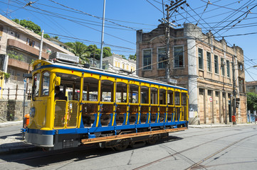 Old-fashioned bonde tram stands empty on the streets of Santa Teresa in Rio de Janeiro, Brazil