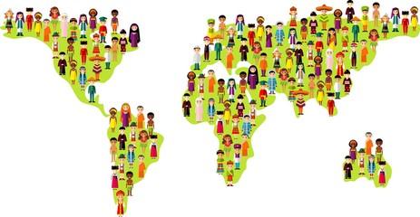 Map vector illustration multicultural national children on planet earth
