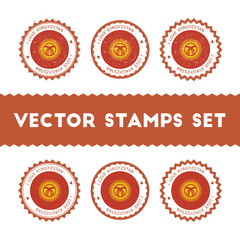 I Love Kyrgyzstan vector stamps set. Retro patriotic country flag badges. National flags vintage round signs.