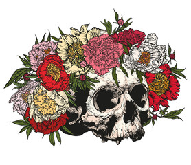 Skull wearing a wreath of peonies.