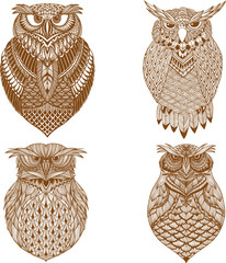 OWL vector handdrawn illustration in zentangle style