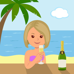 Cute girl with a glass of wine sitting at the bar on the summer vacation at sea. The concept of summer holiday on the beach with palm trees.