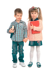 Children with books on a white background