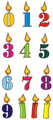 candles, figures, holiday, gift, age, years, dress, colorful, 0, 1, 2, 3, 4, 5, 6, 7, 8, 9, cake, isolated, cartoon, birthday, holiday