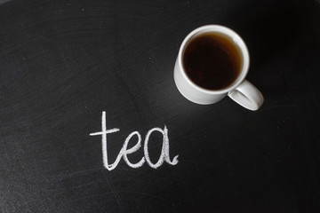 cup of hot tea on a black board and text tea