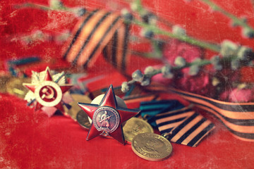 Retro effect on medals composition from Great Patriotic War