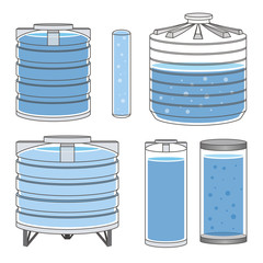 Industrial water tanks set. Vector
