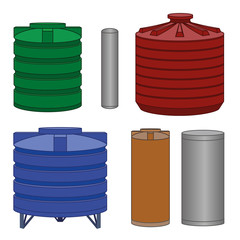 Industrial water tanks set. Vector