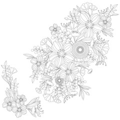 Adult Coloring Book Floral Pattern - vector eps 10