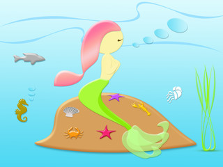 Beautiful mermaid sitting on the stone with sea animal under the sea