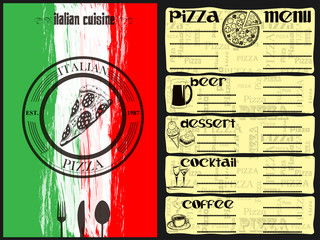 The menu for the restaurant and cafe. Italian, Pizzeria. Drinks and desserts.