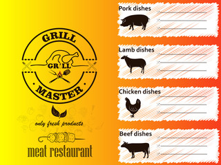 The menu for the restaurant and cafe. Grill and barbecue.