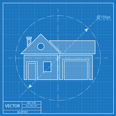 Home and garage, vector illustration. Blueprint style