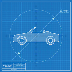 Vector icon of cabriolet. Blueprint style