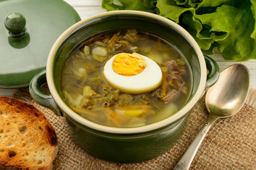 Sorrel soup with boiled egg - dish of russian cuisine.