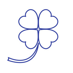 Stylized icon of a colored silhouette clover leave on a white ba