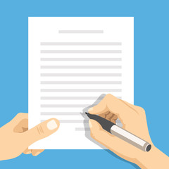 Hands holding sheet of paper with text and pen. Flat vector illustration