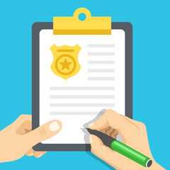 Police report. Traffic, parking fine, citation, crime report, problems with police, subpoena concepts. Flat vector illustration