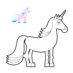 Unicorn coloring book. Fantastic animal in linear style. Fabulou