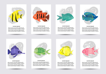 Set of watercolor tropical fish. Collection of card templates for design. Vector illustration.