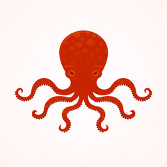 Red big octopus vector illusrtation