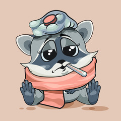 Raccoon cub sick