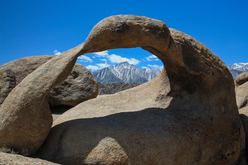 Mobius Arch rames Mt Whitney in its window,