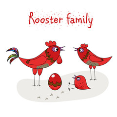 chicken family - rooster, hen, chicken and egg