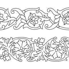 Vector set of seamless floral patterns tape in ethnic national style of Uzbekistan, Asia.