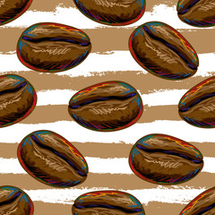 Seamless pattern with coffee beans vector illustration background. Perfect for wallpapers, pattern fills, web page backgrounds, surface textures, textile